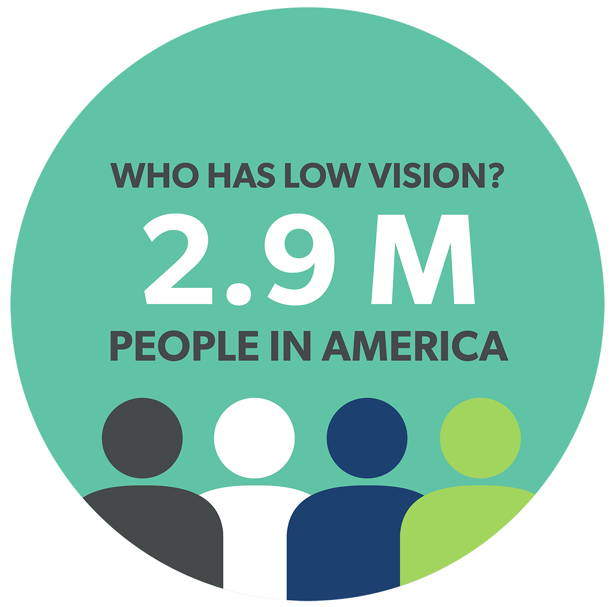 Who has low vision? 2.9 million people in America.